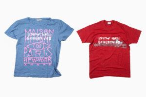 Även t-shirts återvanns med bandets logotyp.