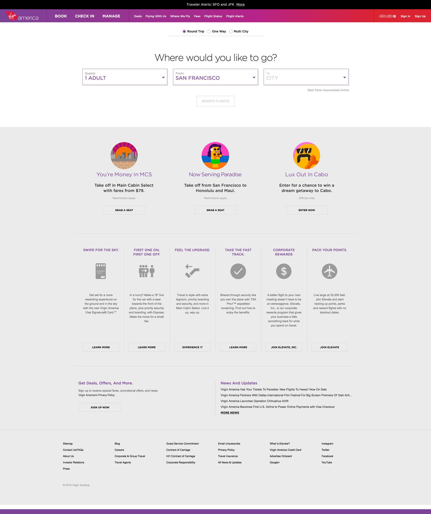Sist men inte minst pratar Ethan om Virgin Americas hemsida som ett bra exempel på responsiv design, men också på en hemsida som vet vad besökaren vill ha.
