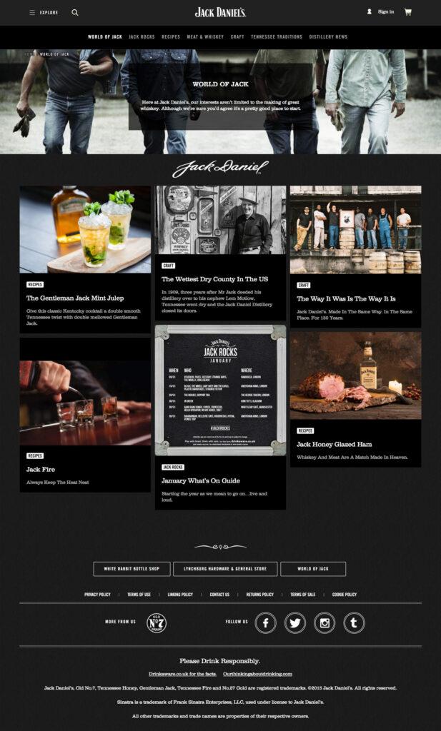World of Jack. Ett par av huvudsektionerna på sajten är helt dedikerade åt berättelser, drinkar och matrecept.