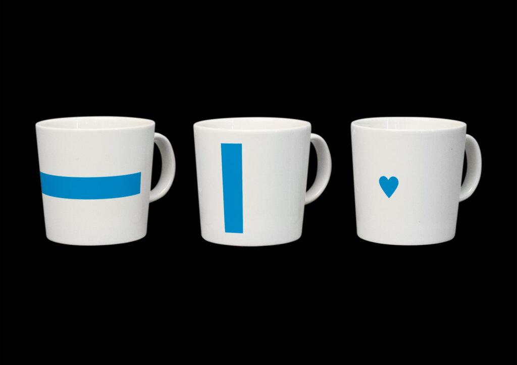 Symboler som tagits fram ur den finska flaggans form, för identiteten Redesign Finland på uppdrag av Bob the Robot 2014.