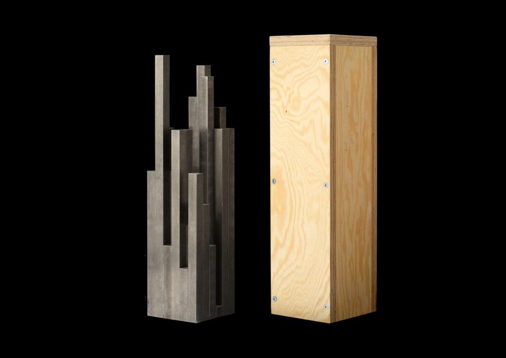 Stålskulptur för Electrolux Brand Award 2007. Pelarna representerar de 36 bokstäverna i prisets namn (med tillägget Henrik Nygren, som var årets mottagare), där varje pelare/bokstav har en specifik höjd beroende på dess position i alfabetet.