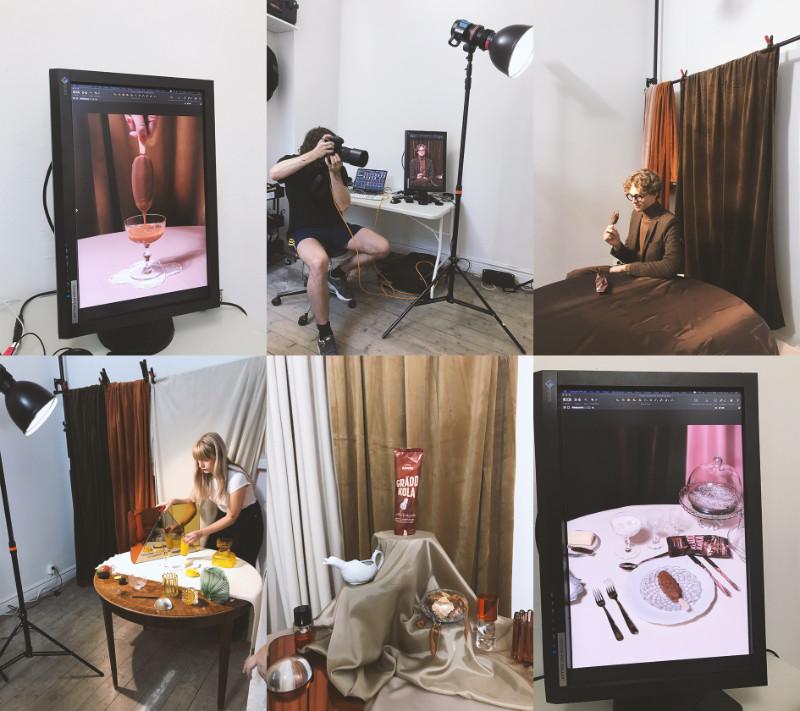 Bakom kulisserna, fotografen Per Möller och modellen Kalle Zacharoff. Lovisa Kvist på Sould jobbar med set design.
