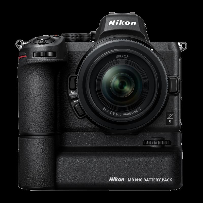 Tillbehör för Z6 och Z7, till exempel batterigrepp, ska fungera även för Nikon Z5. Foto: Pressbild.
