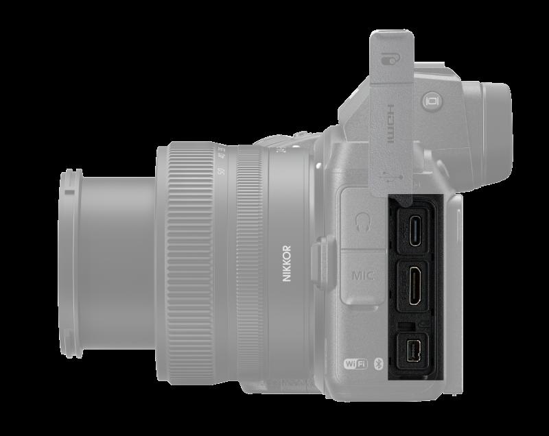 Portar på Nikon Z5, uppifrån och ner: USB-C, HDMI och port för tillbehör från Nikon. Foto: Pressbild.