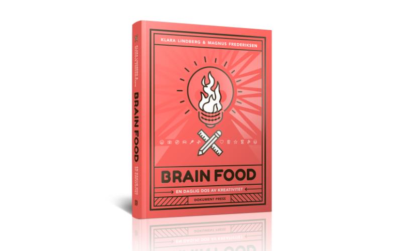 Brainfood, en daglig dos av kreativitBrainfood, en daglig dos av kreativitet. Mockup av omslag ritat av Magnus Frederiksen.et. Mockup.