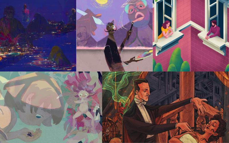 Collage med delar ur vinnarnas verk, tävlingen Procreate Art Price 2020. Från vänster, upptill: Barindoma, The Bay; 127, CAT's Another Tiger; Muhammed Sajid, Stay Home; Papag, Tales or Reality; Isabel Burke, The Illusionist.
