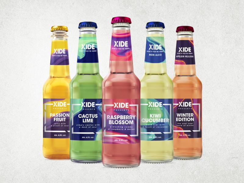 WDW Creatives mockup för olika smaker av Xide.