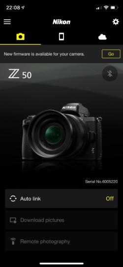 Nikon Snapbridge ihopparad med Nikon Z50. Skärmdump från appen.