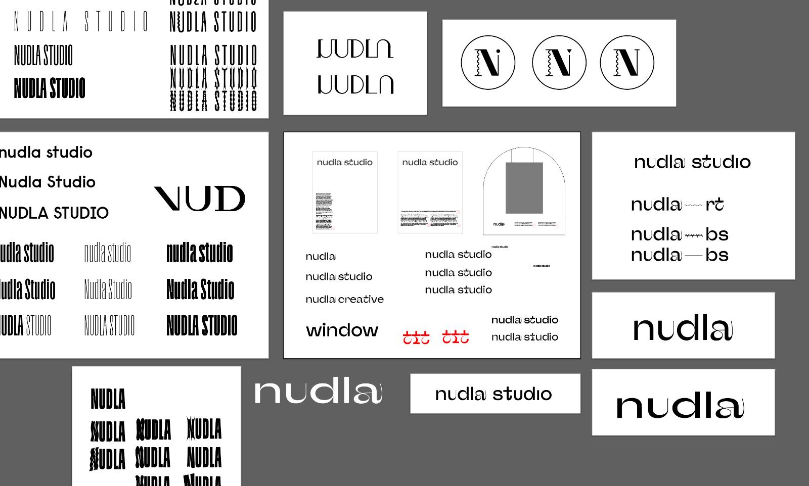 Designskisser på vägen mot det som blev den färdiga logotypen för studion. Skiss: Sofia Larsén.