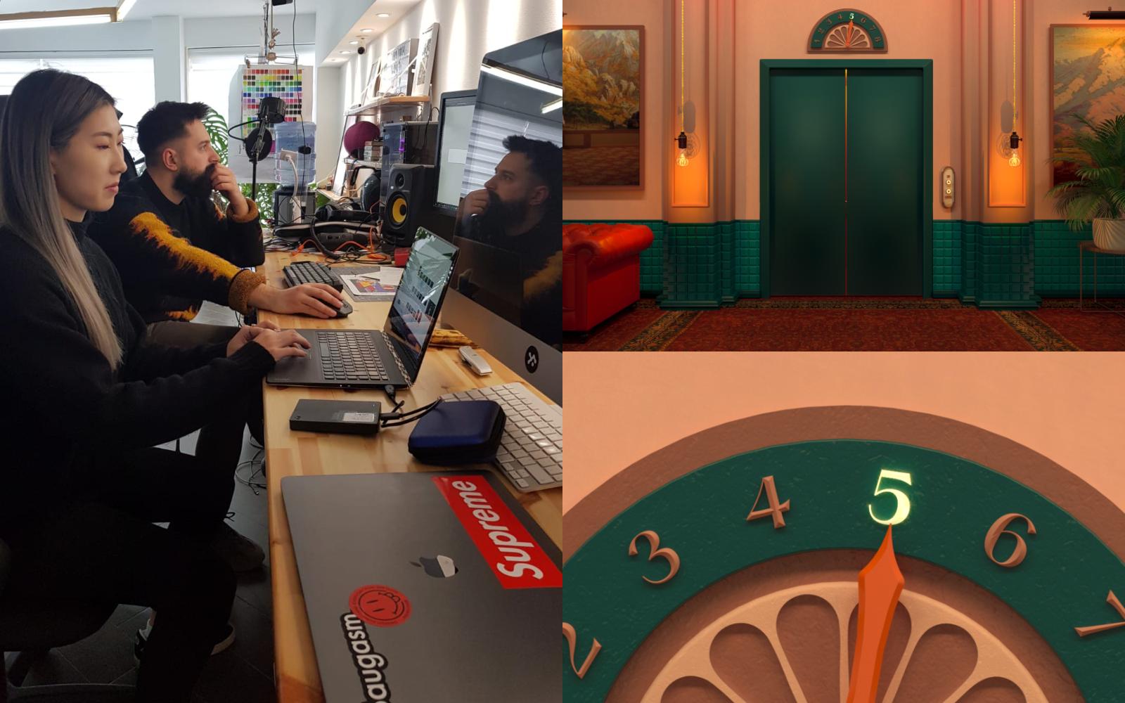 Stephanie Fung, en av förra årets kandidater, arbetar på sin animation The mystery elevator tillsammans med sin mentor Vasjen Katro.