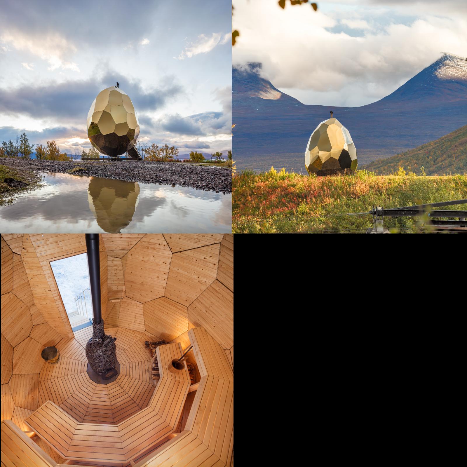"""Den allmänna bastun """"Solar egg"""" konstnärsduon Bigert och Bergström skapade med Futurniture, för Kiruna 2017. Foto: Jean-Baptiste Béranger."""