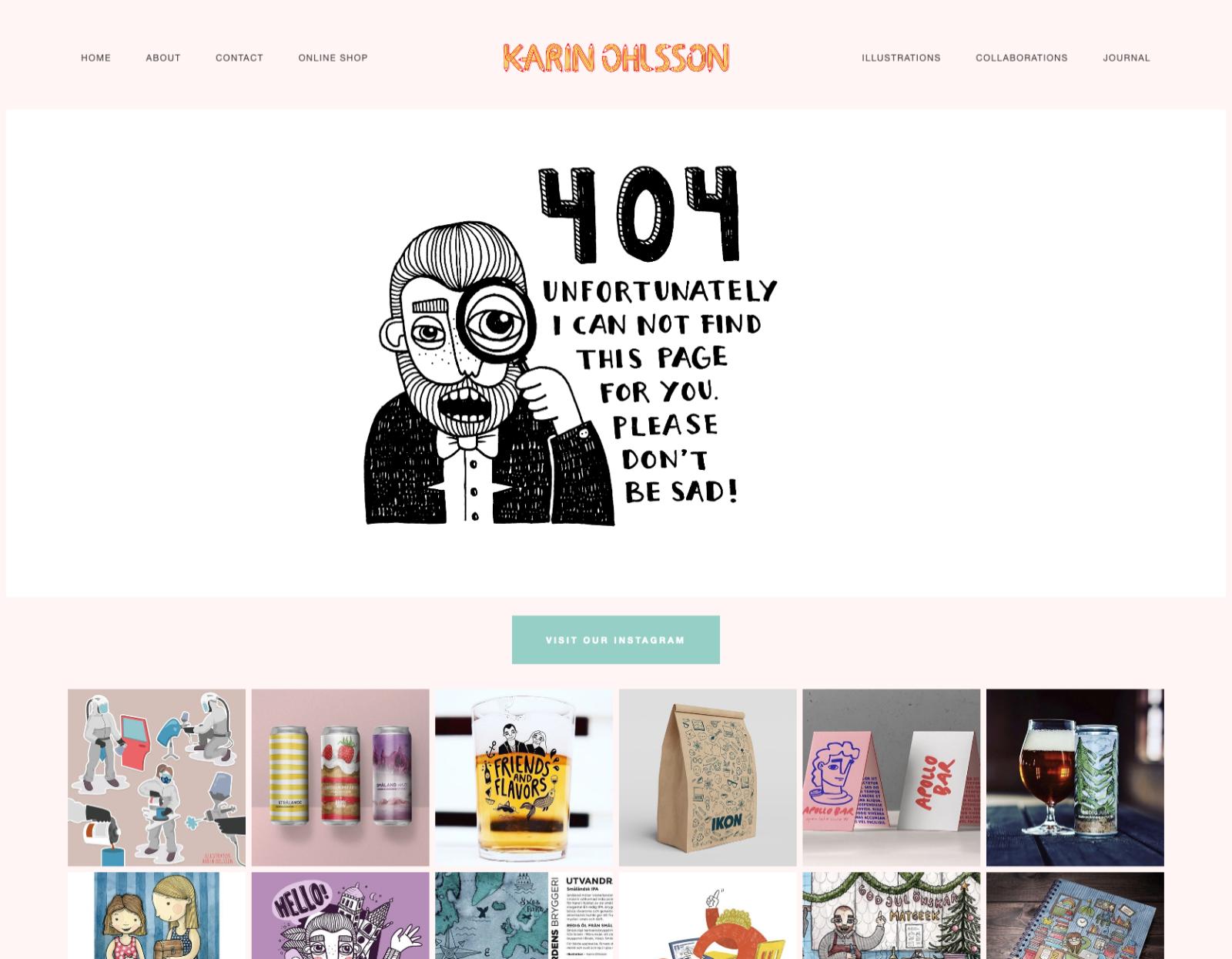 Teknik är ingen favoritsysselsättning, berättar illustratören Karin Ohlsson. Handlar det däremot om att rita en illustration till sin webbutiks 404-sida gör hon det gärna. Illustration: Karin Ohlsson.