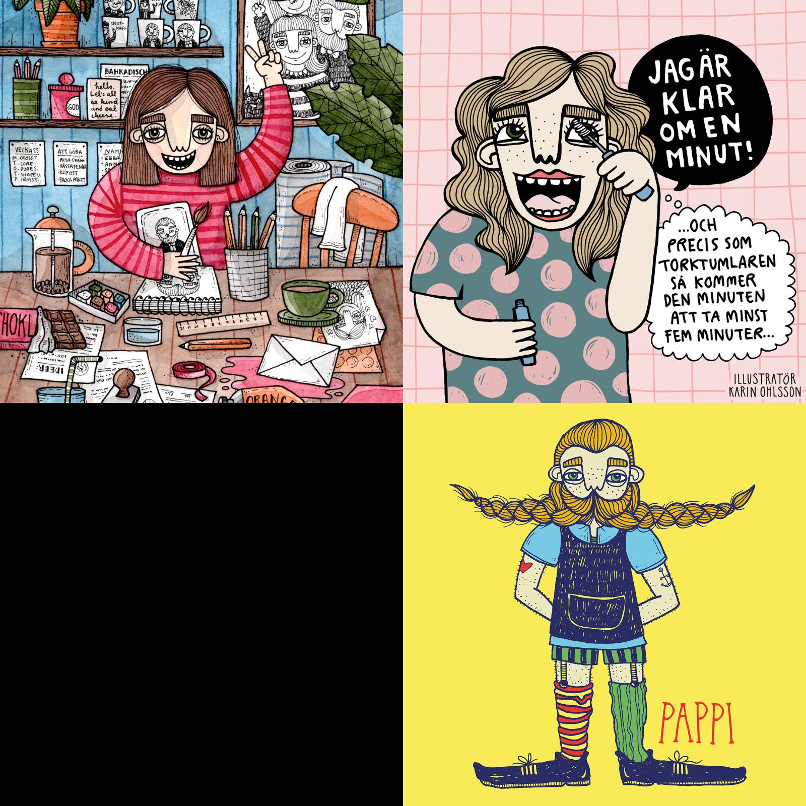 """""""Självporträtt"""" (beskuret) Karin Ohlsson använder på ovansidan av dryckesunderläggen som dubbeljobbar som visitkort, """"Klar om en minut"""" och """"Pappi"""". Illustration: Karin Ohlsson."""
