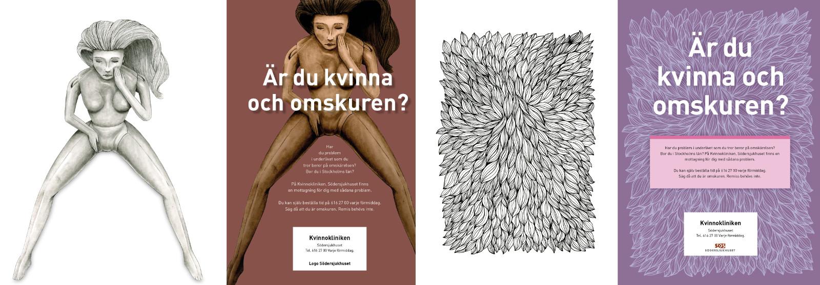 Från vänster till höger, förslag som blev fel och sedan utvecklingen till vad som sedan blev någit som fungerade för kunden. Illustration: Magnus Frederiksen.