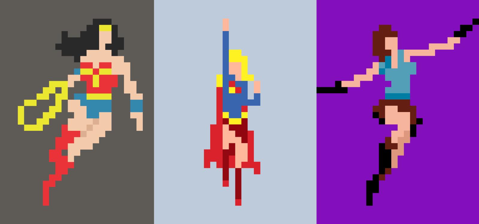 En limiterad upplaga av pixlade, kvinnliga superhjältar. Ett projekt där Magnus Frederiksen jobbade för att behålla karaktären, med så få och väl avvägda pixlar som möjligt. Illustration: Magnus Frederiksen.