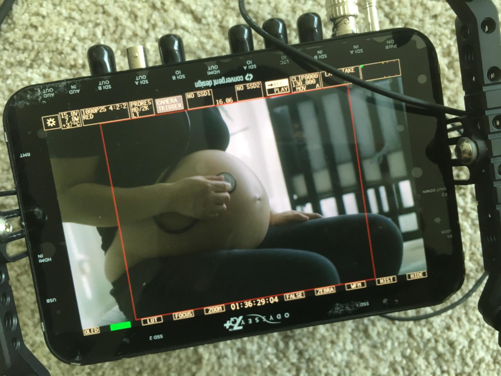 Videomonitor som visar en bild vid inspelning av Honor the sound. Foto: Mats Udd.