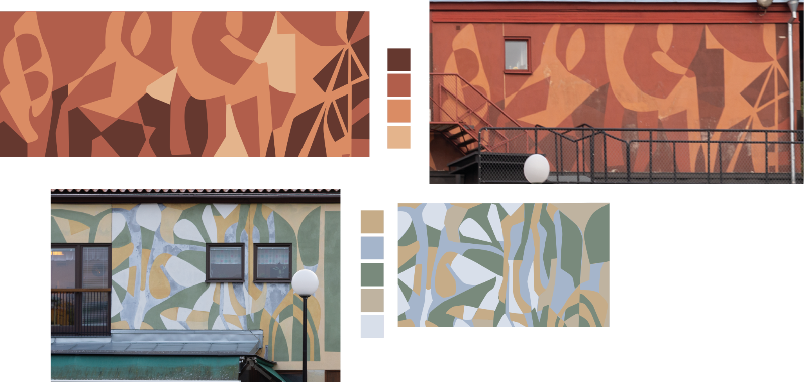 Färgpaletten är plockad från olika fasader på byggnader i Årsta. Foto: Martin Olsson.