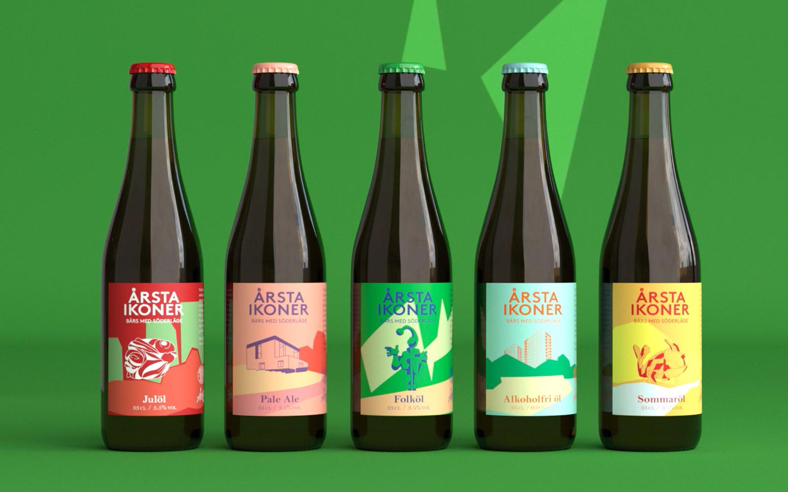 De olika ölsorterna, med olika ikoniska vyer från Årsta på etiketten. Bild: Hummingbirds.
