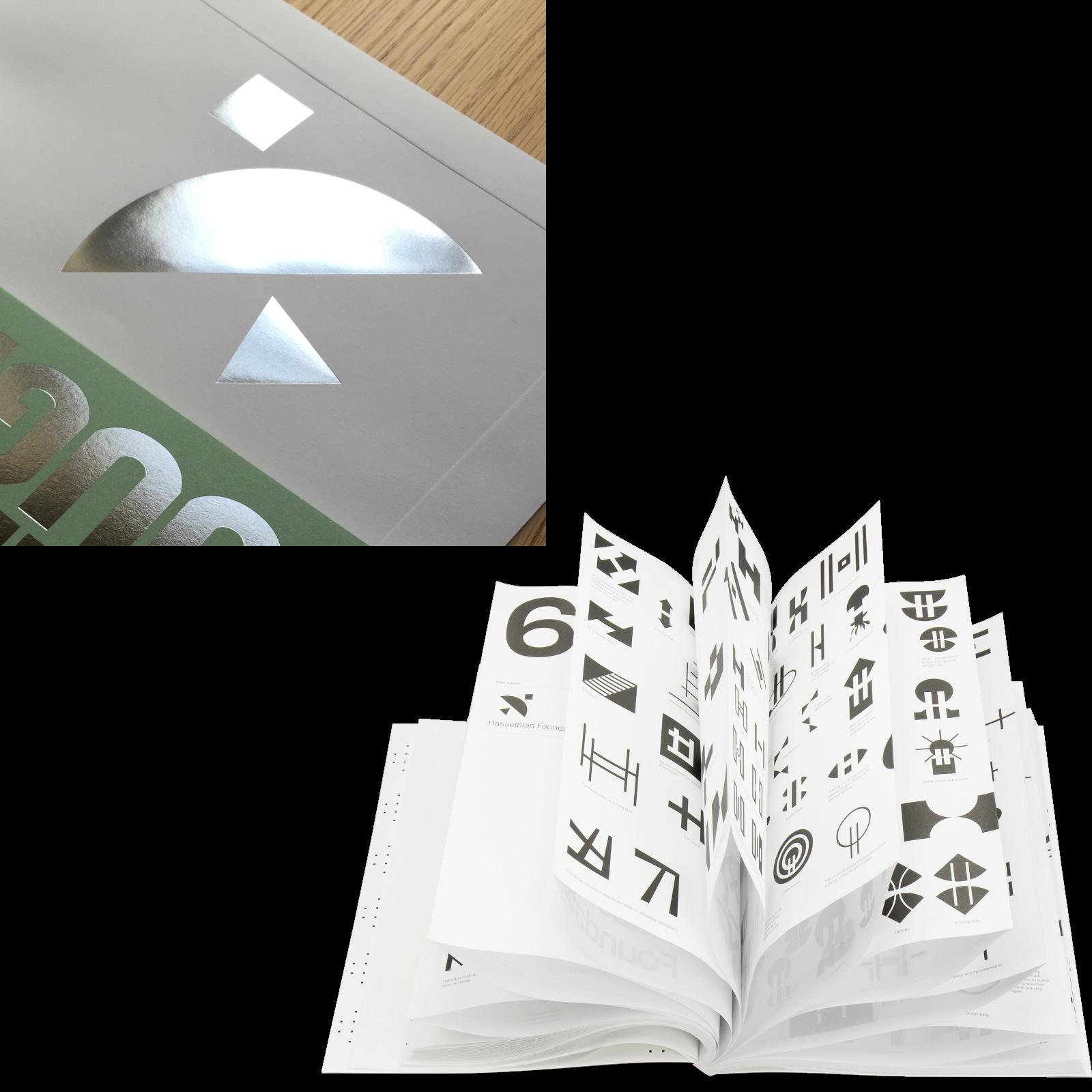 """Hasselblad Foundation, färdig logotyp och några av alla skisser i projektet, ur boken """"Process"""". Foto: Banker-Wessel."""