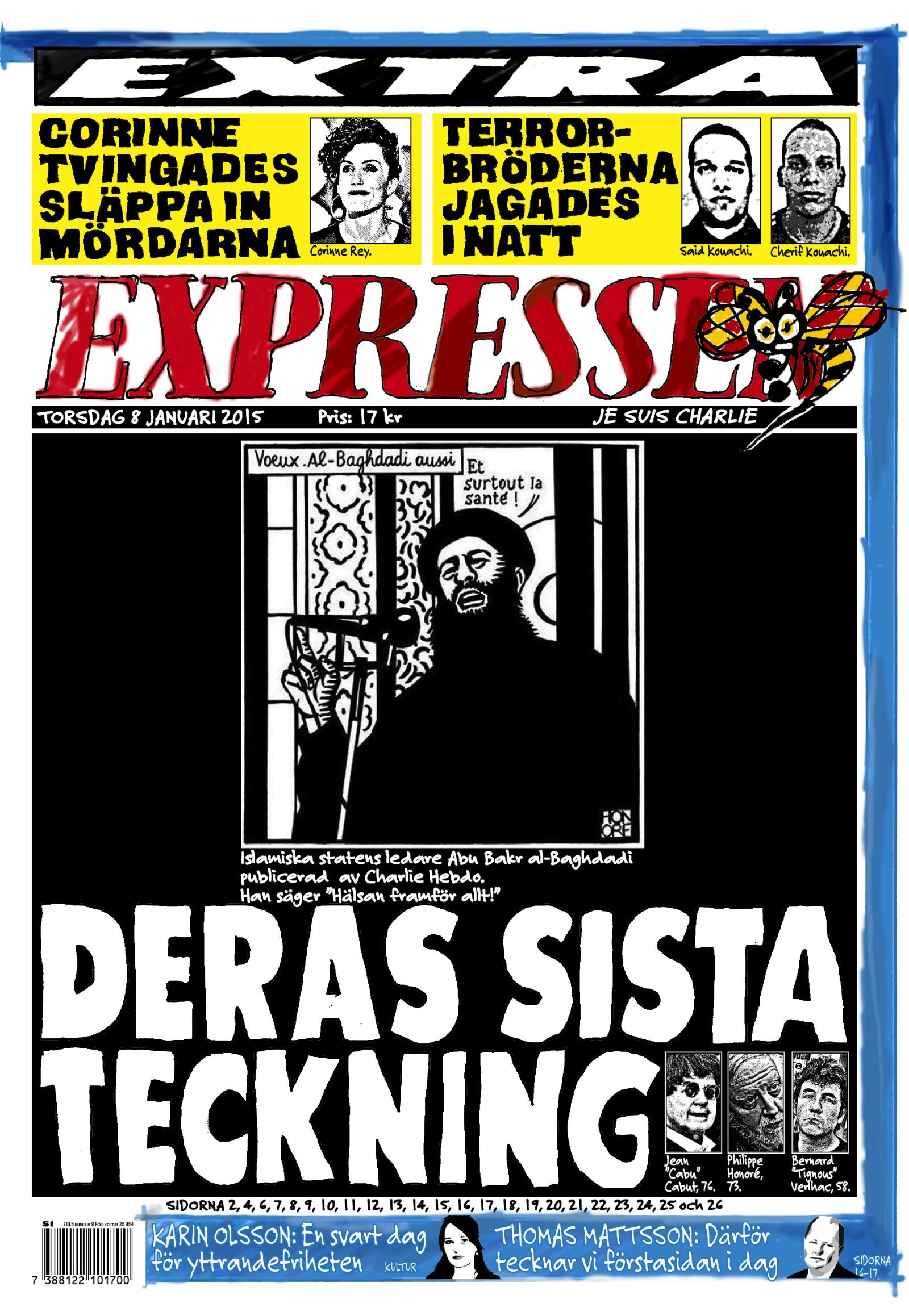 Sidan ett som Helen Rasmusen handritade för Expressen natten mot 8 januari 2015 – en hyllning till offren i terrorattacken dagen innan, mot den franska tidningen Charlie Hebdo i Frankrike.