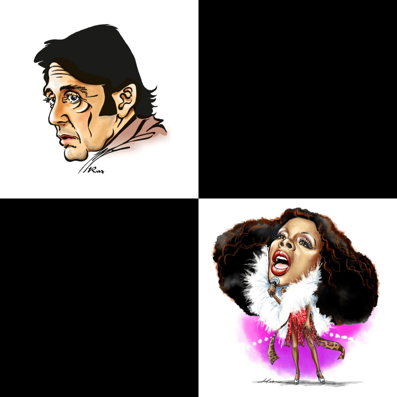 Al Pacino (1997) var första porträttet Helen Rasmusen tecknade för Expressen. Donna Summer (2020) blev det sista porträttet på tidningen.