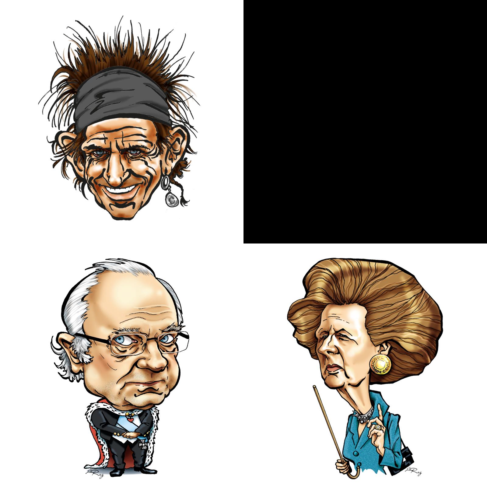"""Keith Richards. Kungen tecknad efter att La Camilla berättade att hon var en av """"kaffeflickorna"""" på hans fester. Margaret Thatcher, """"järnladyn"""". Illustration: Helen Rasmusen."""