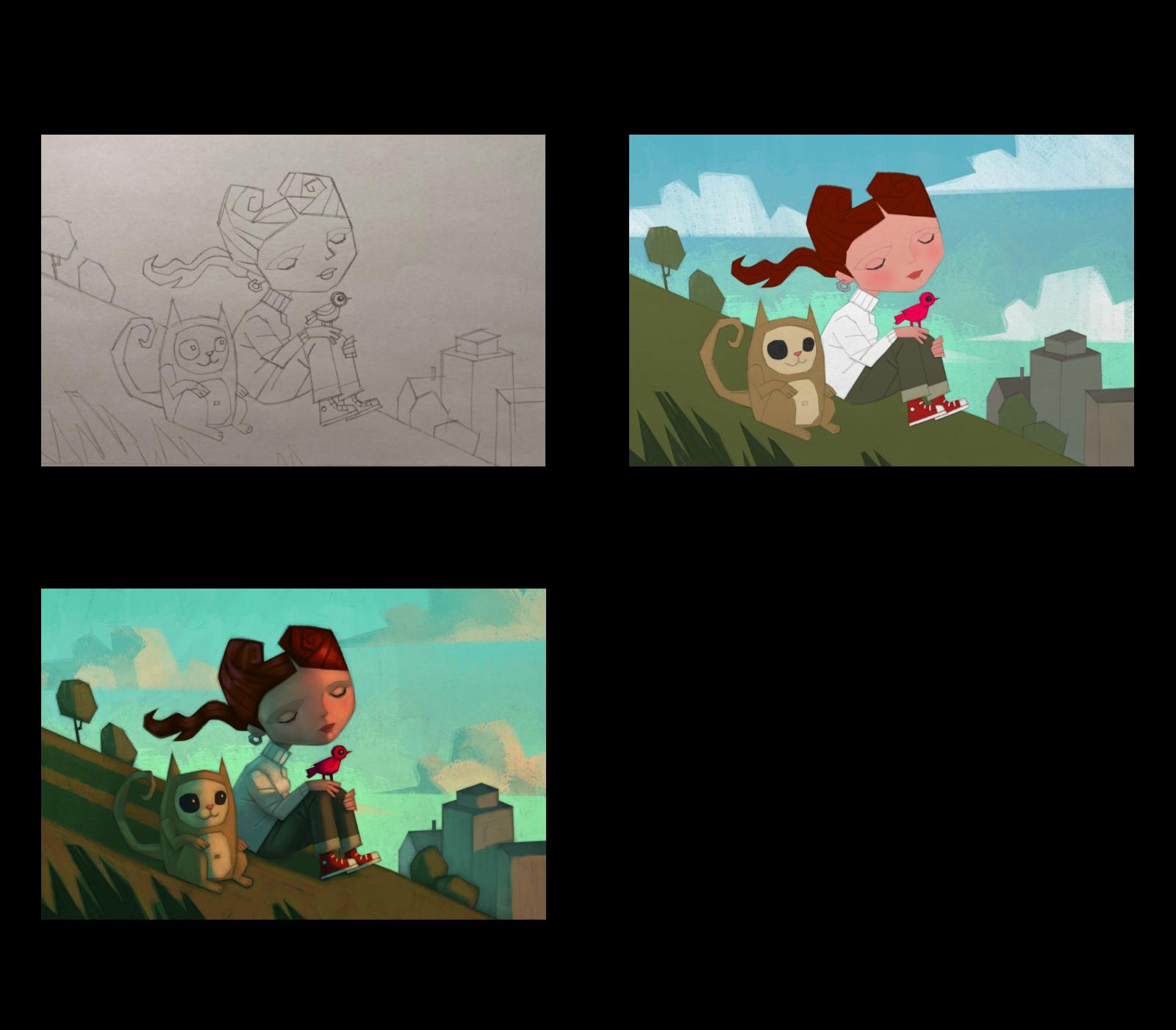 En av processerna Jonn Clemente använder i sina illustrationer bygger på fält med färg han sedan skuggar: 1. Skiss i blyerts på papper. 2. Fält med färg. 3. Skuggning.