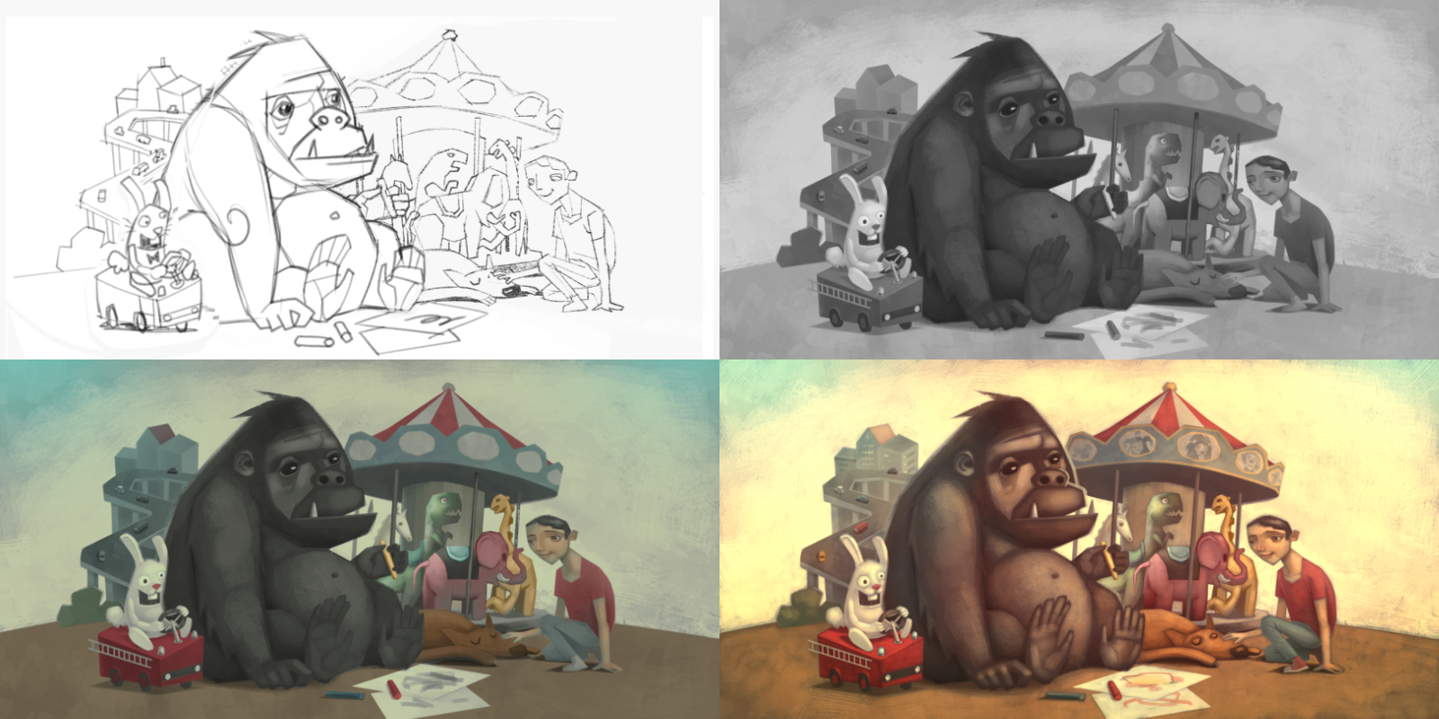 En av processerna Jonn Clemente använder i sina illustrationer går via gråskala: 1. Skiss i blyerts på papper. 2. Gråskala för valörer. 3. Kulörer läggs till. 4. Ljus och detaljer.