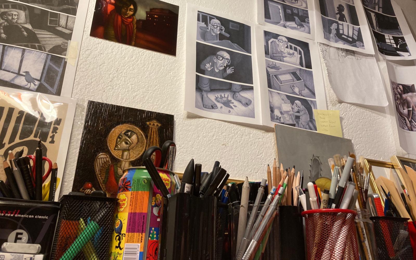 En bild från studion i Saltsjöbaden. Foto: Emelie Grundström.