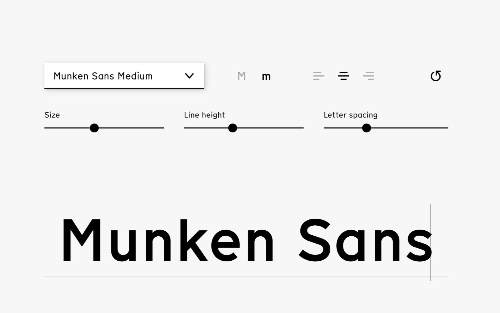 På sajten för Munken Colab kan du testa Munken Sans. Typsnittet är fritt att ladda ner, januari ut. Foto: Skärmdump.
