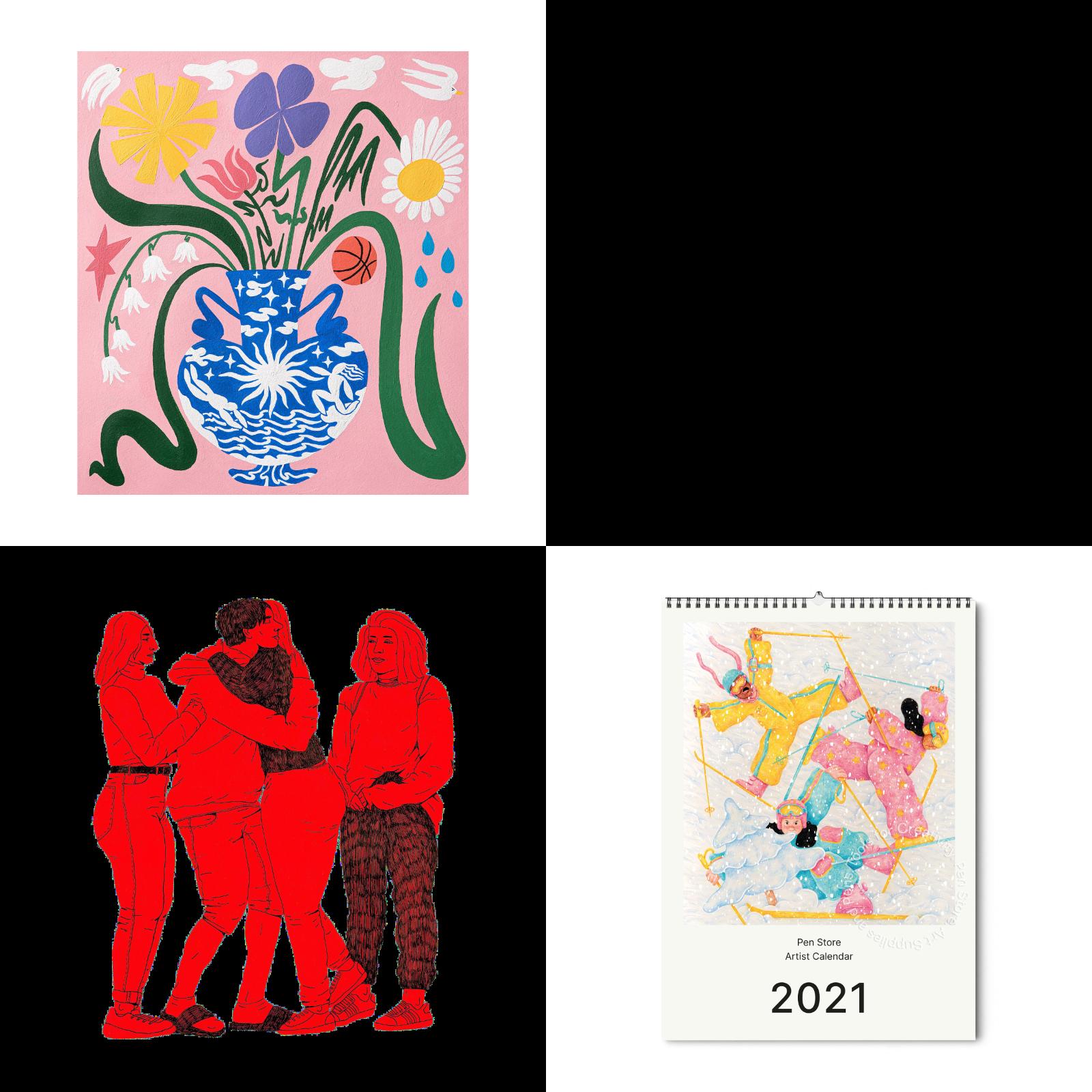 Varje illustration är unik och skapad för Pen Stores kalender 2021. Uppe till vänster; Manne Jalilian för juni, nere till vänster; Johan Lindstrom för juli och mockup av kalendern med omslag av Anna Pers Bräcke.