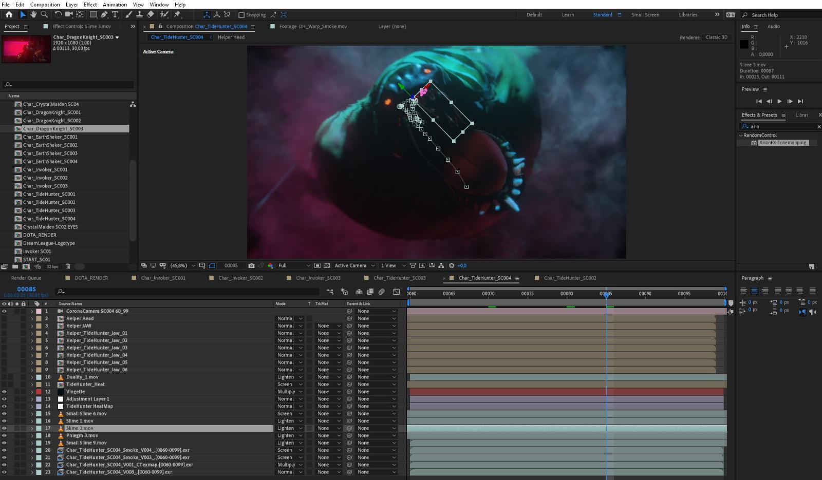 Animering av karaktär från Dota 2, Adobe Aftereffects. Skärmdump. Foto: Skärmdump, Dallas Sthlm.