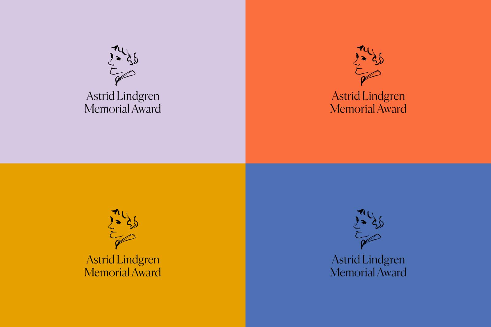 Logotypen består av en ordbild och ett porträtt av Astrid Lindgren, ritat av Illustratören Amanda Åkerman. Happy F&B ville få en tydlig igenkänning med så få linjer som möjligt. Färgpaletten strävar efter att vara mjuk och varm. Bild: Happy F&B.