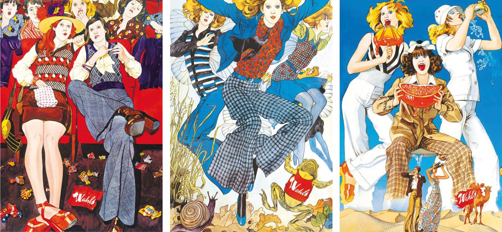 Tre av Jane Barks illustrationer. Foto: Inscannad.