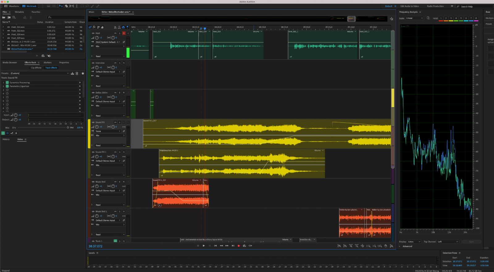 Adobe Audition med redigeringen av poddavsnittet med byrån Dallas, om deras jobb med Melodifestivalen. Bild: Skärmdump.