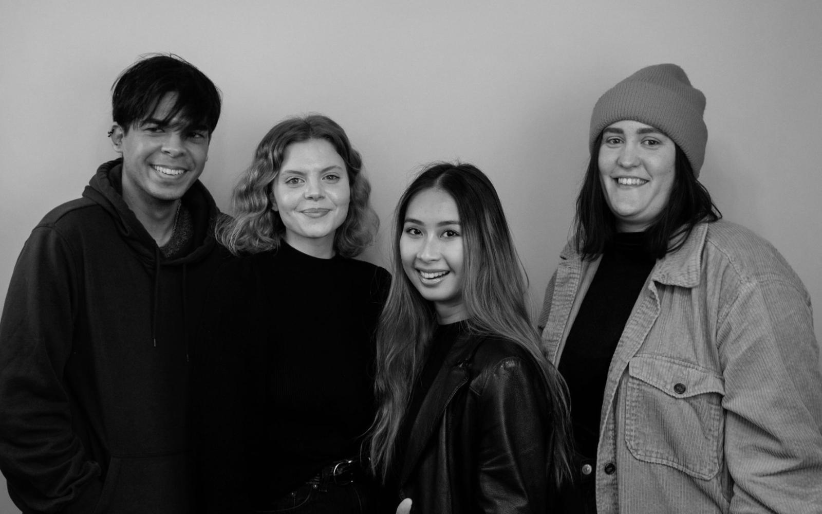 Projektgruppen för Vårskriket: Charlie Asplund, Elsa Burén, Sirinya Holst och Matilda Habbe. Foto: Johan Benno.