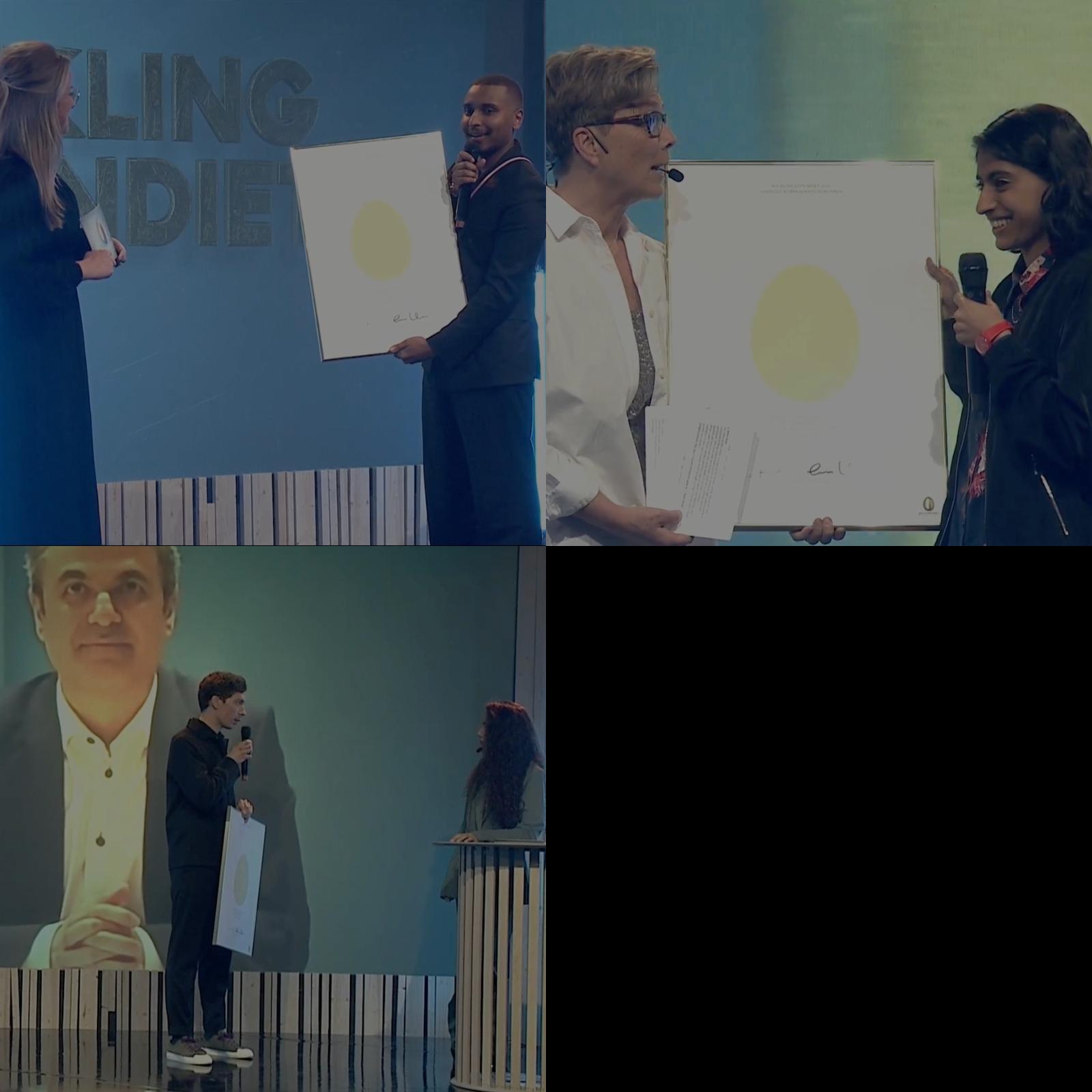 Det märktes att Komm ansträngt sig för att skapa närhet i den digitala Guldäggsgalan 2021. Bland annat fick Kycklingstipendiaterna ta emot stipendiet i studion – Haisam Mohammed (t.h.) tar emot Kycklingstipendiet av Linda Nilsson, vd på Komm; styrelseordförande på Komm, Helena Westin överlämnar stipendiet till Neha Hirve och Hampus Elfström uppmärksammades av näringsminister Ibrahim Baylan. Bild: Skärmdump från livesändningen av galan.