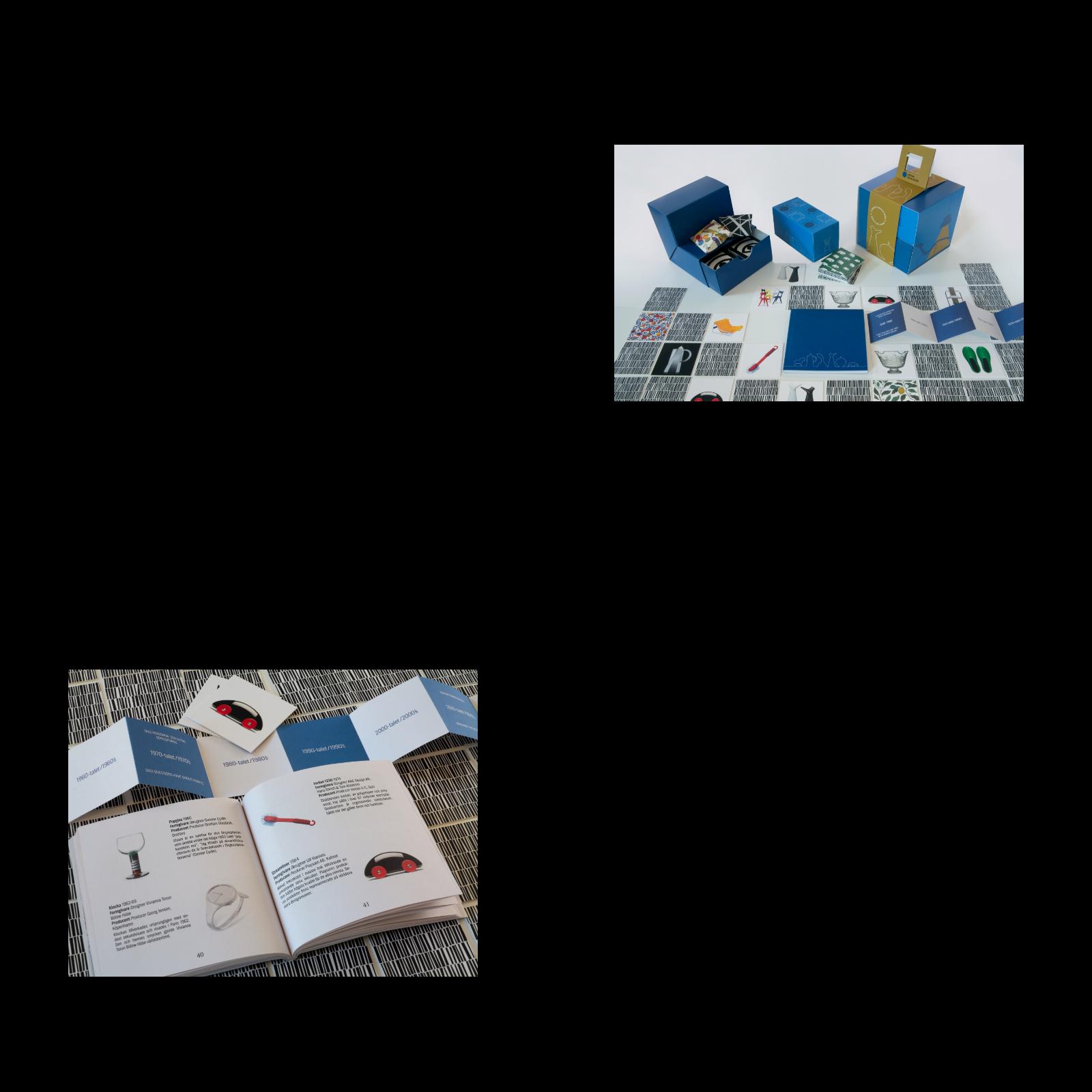 Delarna i Swedish Design Memo. Bilden nere till vänster visar spelbrickor, spelplan till quiz och boken som är facit och uppslagsverk. Foto: Fredrika Berghult.