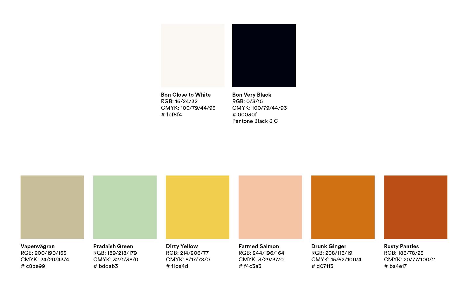 De åtta profilfärgerna Bon Magazine tog fram under 2020.