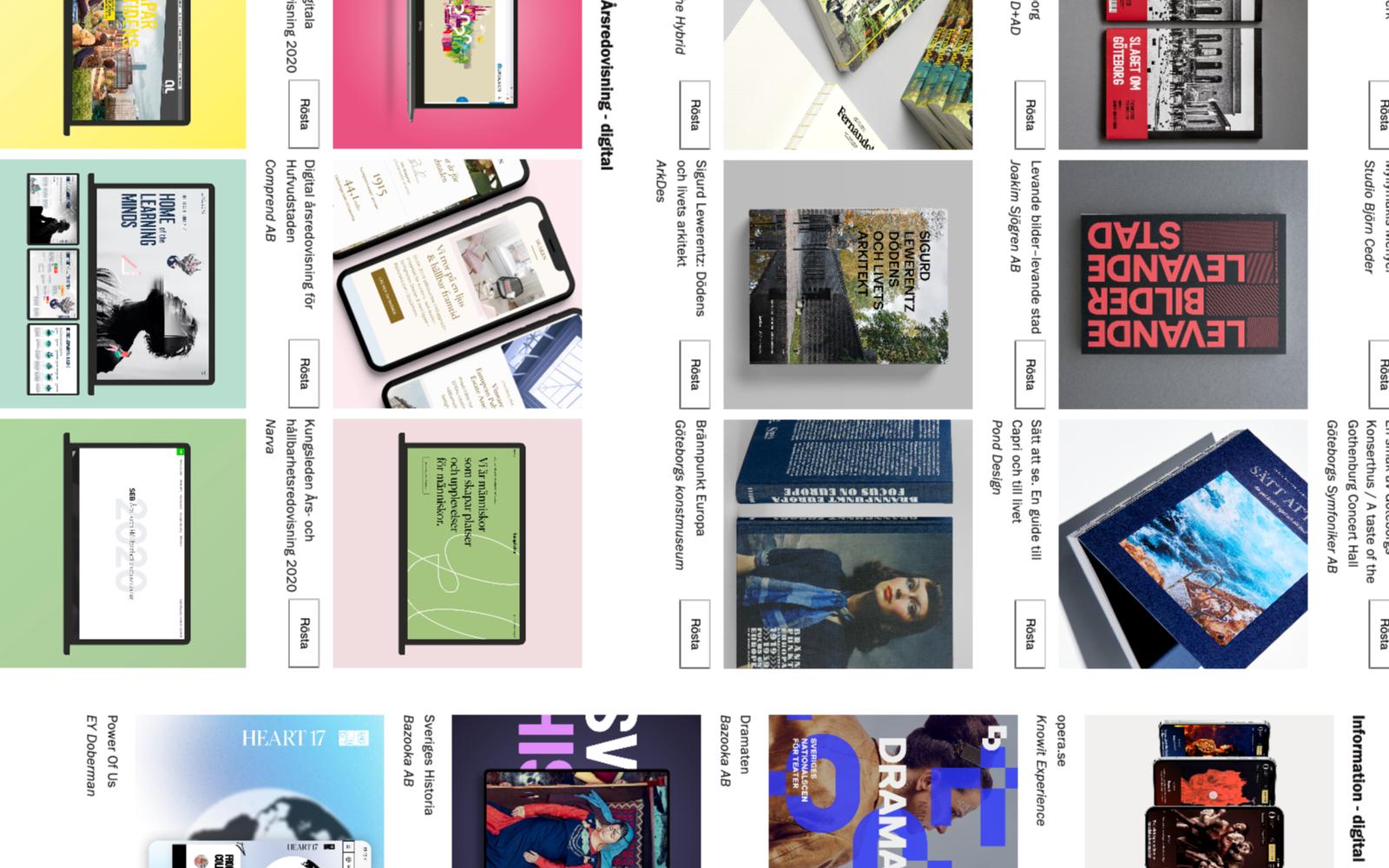 Svenska Designpriset 2021, skärmdumpar på några av alla nominerade tävlingsbidrag. Bilden är ett montage.
